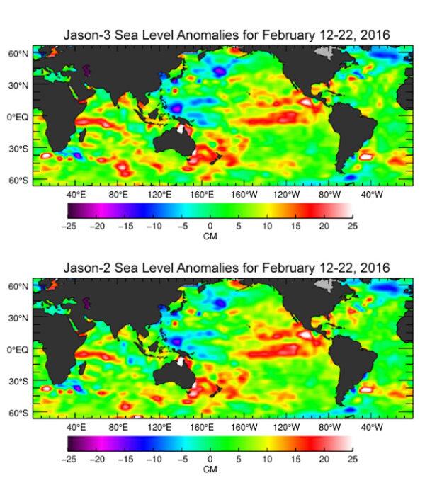 Změny ve výšce mořské hladiny mezi 12. a 22. únorem - porovnání údajů z družic Jason-2 a Jason-3