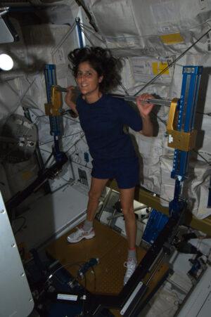 Sunita Williams cvičí na zařízení ARED