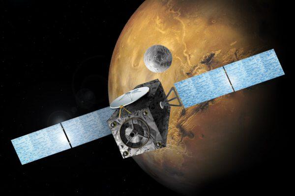 Vizualizace sondy TGO a pouzdra EDM u Marsu.