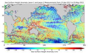 Historické srovnání dat z družic Jason-2 a Jason-1 z přelomu dubna a května 2011