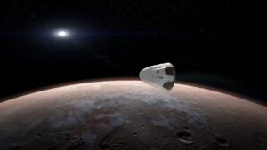 Nepilotovaný Crew Dragon u Marsu