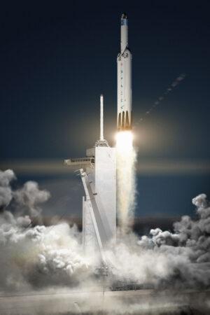 Vizualizace startu rakety Falcon Heavy s lodí Crew Dragon k Marsu