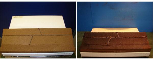 Vlevo vrstva Norcoat před tepelnou zkouškou - vpravo - stejný vzorek po zkoušce