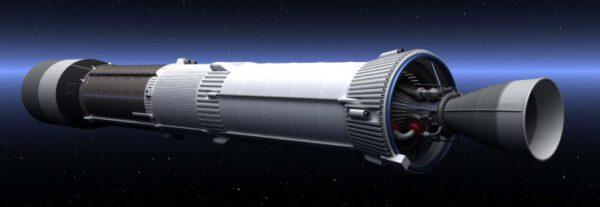 Vizualizácia posledného stupňa rakety Ariane-1