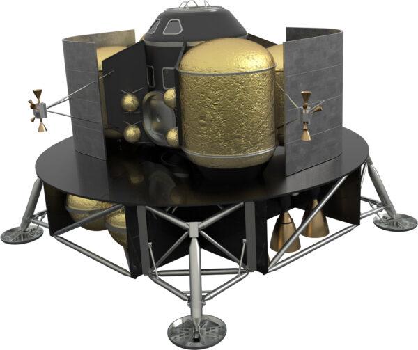 Teoretická podoba landeru pro Mars, který by mohl využívat metanové motory