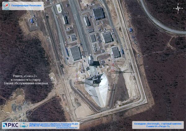 Předstartovní scenérie vyfocené nedávno vypuštěným satelitem Resurs-P