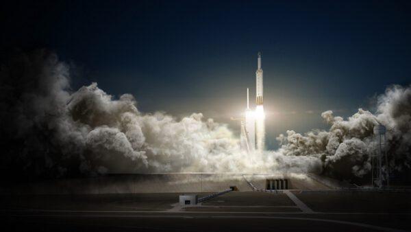 Vizualizace startu rakety Falcon Heavy.