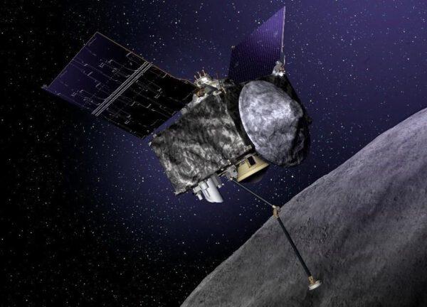 Sonda OSIRIS-REx při odběru vzorků z asteroidu Bennu