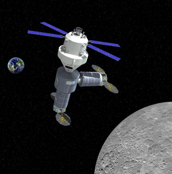 Základní podoba stanice se stykovacím uzlem, lodí Orion a se dvěma moduly odovozenými od lodí Cygnus.
