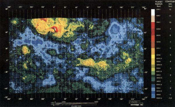 Mapa Venuše. Pioneer Venus. NASA