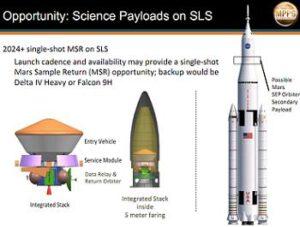 Teoretická podoba mise MSR, pokud by byla vynesena při jediném startu rakety SLS