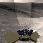 Opportunity na svahu. NASA/JPL/Larry Crumpler