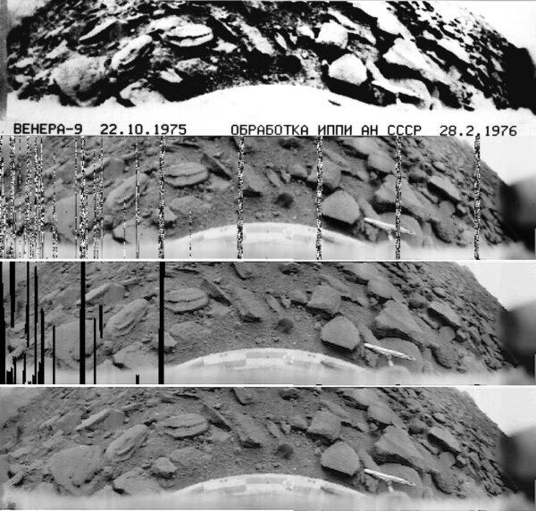 Veněra 9, foto povrchu. Zpracování Don P. Mitchell