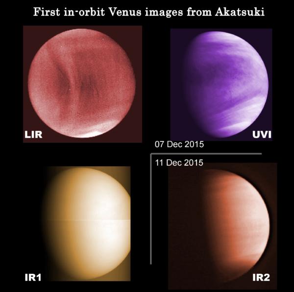 První snímky Venuše z Akatsuki po usazení na oběžnou dráhu. Zdroj: JAXA