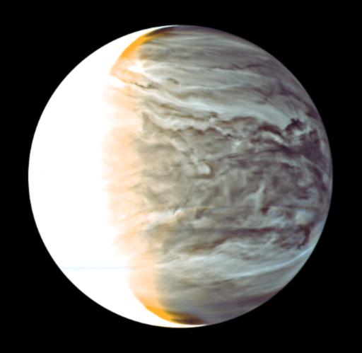 Venuše pohledem infračervené kamery ve vlnové délce 2,26 mikrometru dne 26. 3. 2016. Zdroj: JAXA
