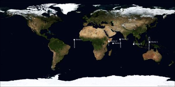 Umístění ostatních družic z programu Mentor, vypuštěných mezi roky 1995 a 2012