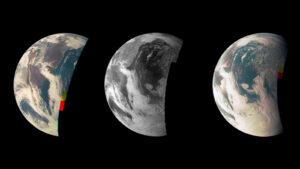 Snímky Země z kamery JunoCam při gravitačním manévru u naší planety v roce 2013
