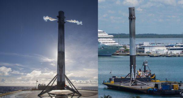 Porovnání pozice stupně těsně po přistání a po příjezdu do přístavu.