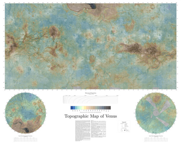 Topografická mapa Venuše. Veněra 15, 16, Magellan. Daniel Macháček