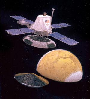 Umělecká představa oddělení orbitální a přistávací sekce sond Viking