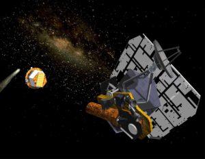 Sonda Deep Impact v umělecké představě po vypuštění projektilu