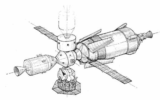 Raná koncepce klastru ještě počítá s teleskopy ATM zakomponovanými v lunárním modulu zakotveném u Skylabu.