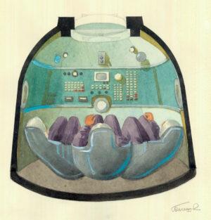 Návrh interieru s dnes již typickými sedačkami pro kosmonauty. Přistávací modul Sojuz-T 1970