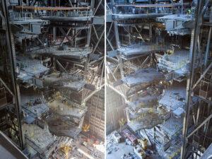 Vlevo severní strana VAB, vpravo jižní strana