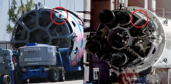 Porovnání údajného prvního stupně Falconu Heavy s běžným prvním stupněm.