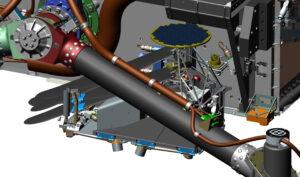 Výřez z CAD modelu - u pravého předního kola můžeme jasně vidět kruhový solární panel a složené listy rotoru.