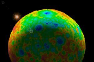 Topografická mapa trpasličí planety Ceres