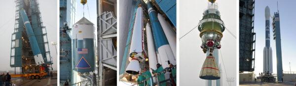 Archivní snímky ze sestavování rakety Delta II
