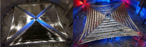 Dva prototypy sluneční plachty, které připravily pro NASA firmy ATK (nalevo) a L´Garde (napravo). Rozměr plachet byl 20×20 m a v letech 2004 a 2005 proběhly jejich komplexní testy i ve velkých vakuových komorách. (Zdroj L. Johnson, R. Young, D Alhorn et al: Solar Sail Propulsion: Enabling New Capabilities for Heliophysics).