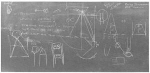 """Letmé skicy na jedné z tabulí ve středisku Marshall daly vzniknout """"plachtě z Marshallu""""."""