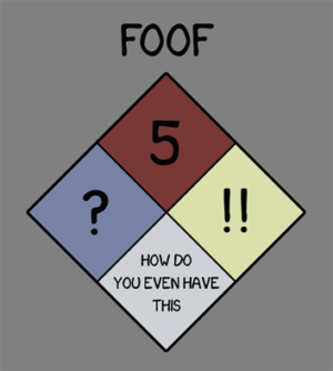 Internetová veřejnost ráda vtipkuje – takto by prý měl vypadat kód NFPA 704 pro FOOF. Pro vysvětlení – tato norma má pouze čtyři stupně. FOOF by měl podle této grafiky hořlavost pátého stupně, zdravotní škodlivost s otazníkem, reaktivitu se dvěma vykřičníky a u ostatních rizik se vás tabulka ptá jak je možné, že tuhle látku vůbec máte.