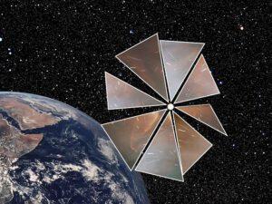 Sluneční plachta projektu Cosmos-1 (zdroj John Ballentine, Wiki)