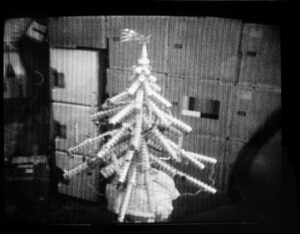 Vánoční stromek z obalů na potraviny na Skylabu. Hvězdička na jeho špici má znzorňovat kometu Kohoutek.