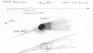 Skica komety Kohoutek, kterou Ed Gibson nakreslil na základě pozorování během EVA 29. prosince.