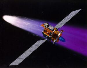 Sonda Deep Space 1 poprvé použila fotovoltaické články s koncentrátorem (zdroj NASA).