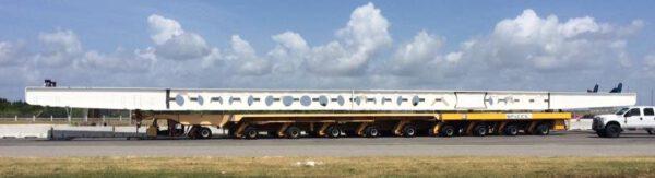 Transportér zachráněných prvních stupňů raket Falcon 9
