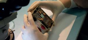Polovodičový detektor založený na technologii Timepix (zdroj ÚTEF ČVUT)
