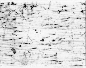 Zobrazení vysokoenergetických elektronů v jaderné emulzi (zdroj NASA-Marshall Space Flight Center)
