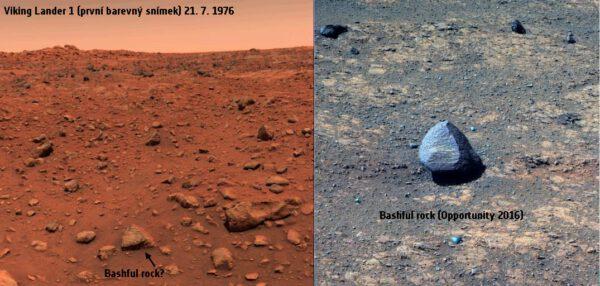 Kameny Bashful a Basfull II na Marsu. Viking 1 a Opportunity. Zdroj: NASA
