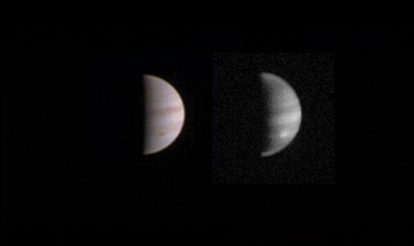 Duální snímek Jupitera pořízený kamerou JunoCam 23. srpna ve vzdálenosti 4,4 milionu kilometrů
