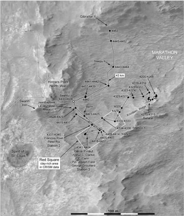 Mapa polohy Opportunity k solu 4453 v srpnu 2016. Zdroj: NASA/JPL/MSSS/Phil Stooke