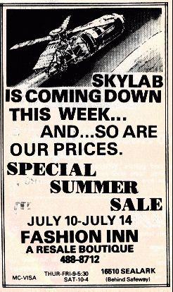 """""""Skylab tento týden míří dolů... stejně jako naše ceny!"""" Zánik Skylabu byl marketingovým zlatým dolem..."""