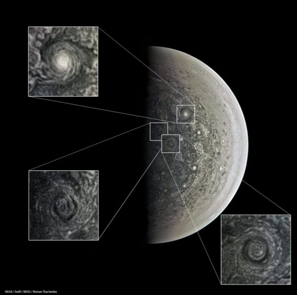 Jupiterův pól, detaily. NASA/SwRI/MSSS/Roman Tkačenko