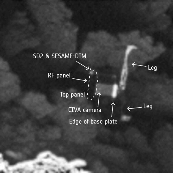 Detailní pohled na Philae ve výřezu i s popisem vědeckých přístrojů.