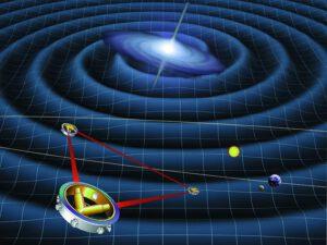 Možná nám gravitační detektor LISA (nebo eLISA) vytvoří mapu mezihvězdných cest (zdroj NASA).