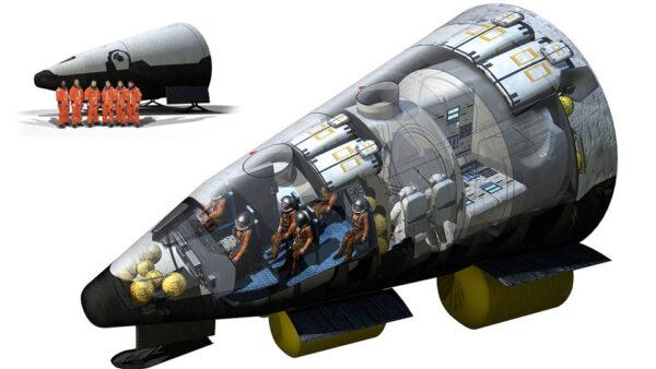Představa firmy JF & A jak by mohla vypadat kosmická loď CEV (Crew Exploration Vehicle). Podobné počítačem generované animace a obrázky se objevují dodnes v tištěné i elektronické podobě po celém světě.